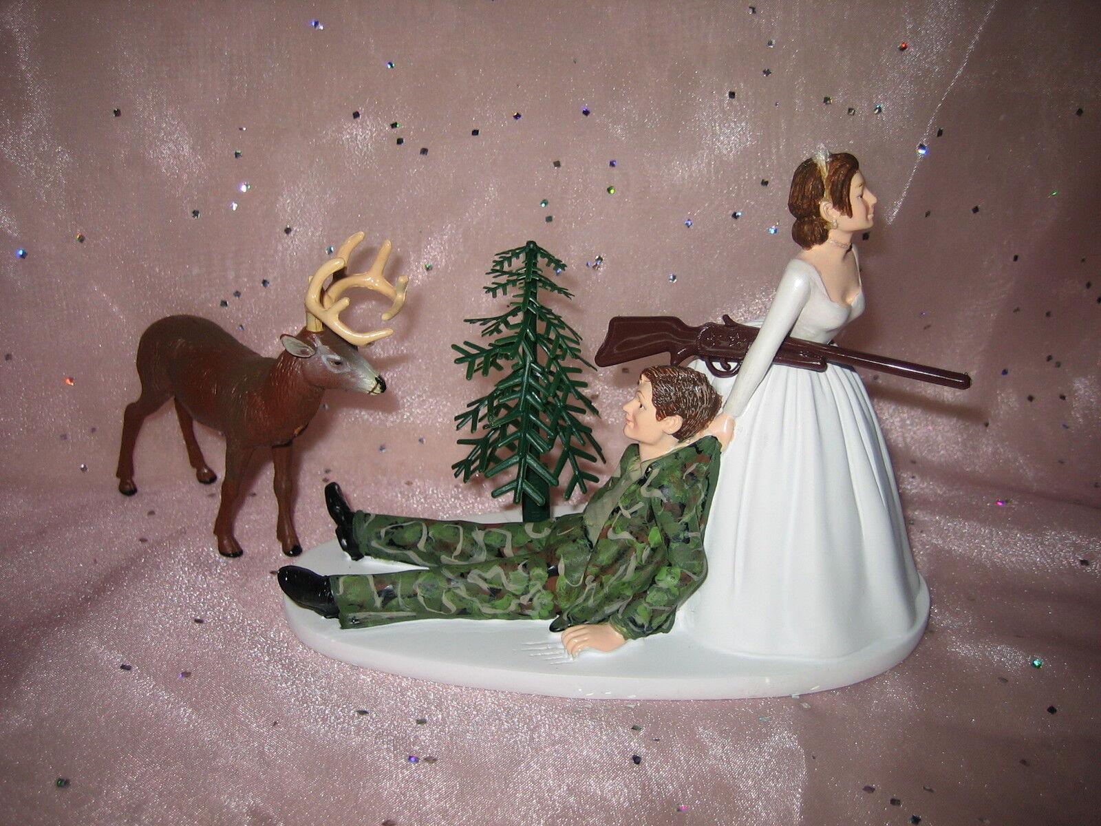 Réception de Mariage Parti Deer Camo Hunter Hunting Cake Topper bouseu cheveux noirs