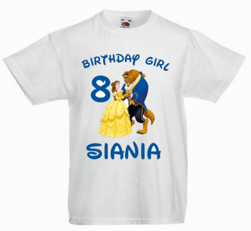 CHILDRENS   T SHIRT* BIRTHDAY AGE* beauty /& the beast 1,2,3,4,5,6,7,8 ANY NAME