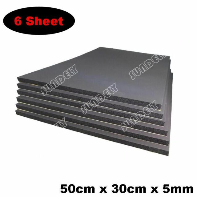 6 x 5mm sound proofing /& heat insulation sheet closed cell foam size 50cm x 30cm