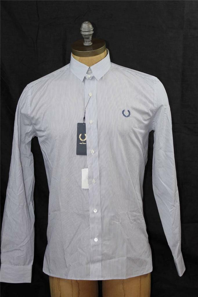 AUTH  Fred Perry Men's Tab Collar Stripe Shirt 38 S