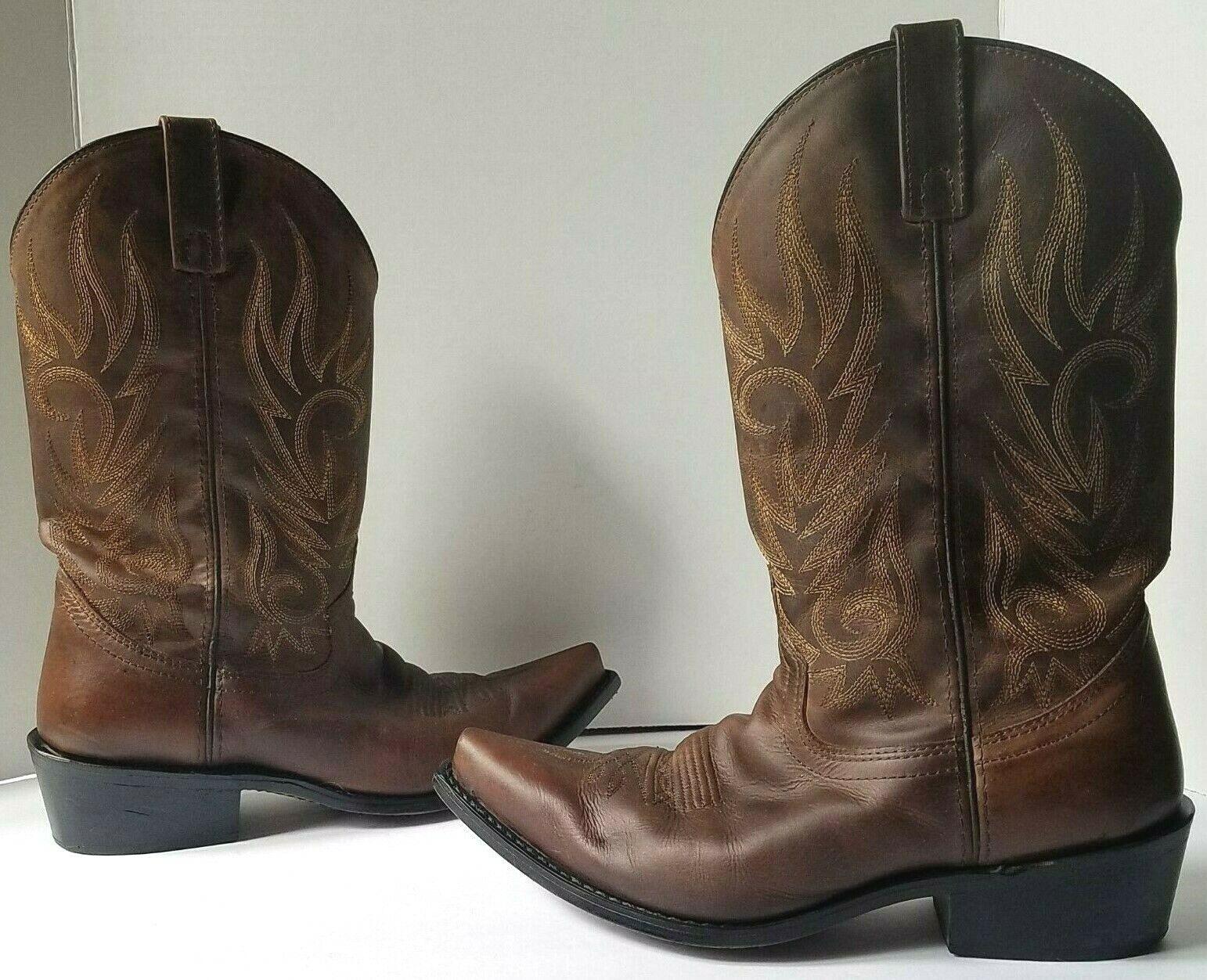 Laredo Men's 8.5 68424 Willow Creek Cowboy Boot Brown   Tan Crazy Horse Leather