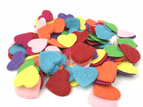 500pcs Mixed Colors Die Cut Felt Heart-shaped Fit Cardmaking decoration 20mm