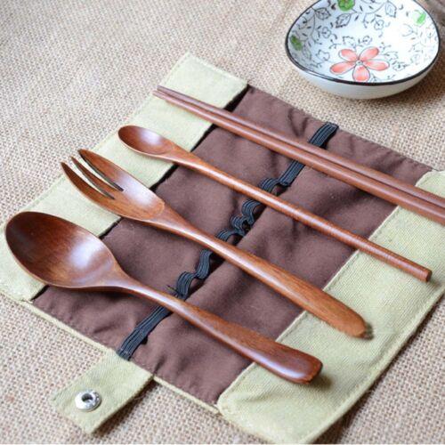 Naturel En Bois Réutilisable Cuillère Fourchette baguettes Vaisselle Couverts Ustensile avec pochette