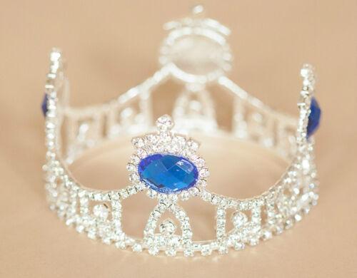 Mini Tiara Crown for Newborn Baby PhotoProp Crystal Rhinestone Blue Jewel 4035