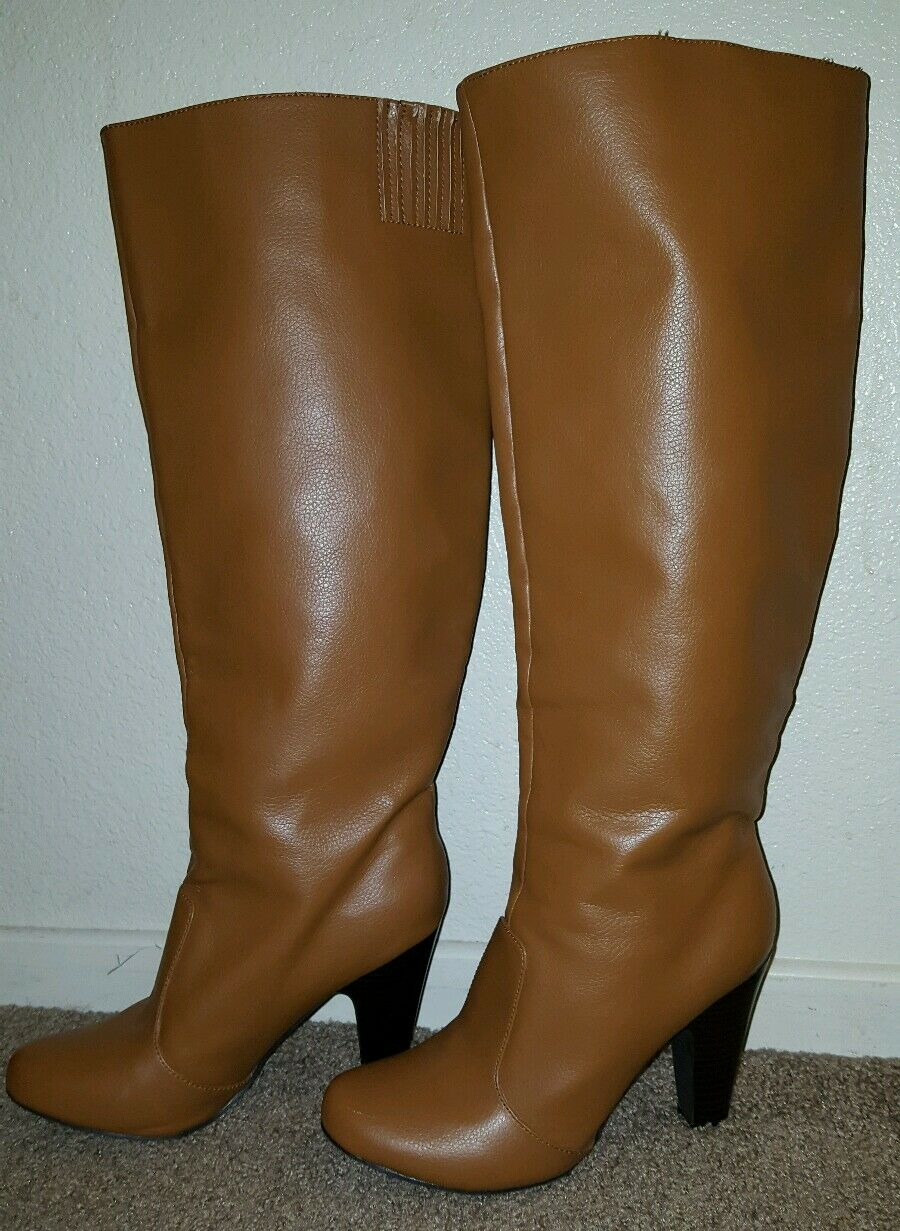 Women's brown tall over the knee cowgirl retro 60's style fashion boots size 9