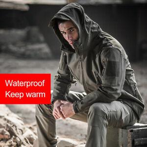 Men-Waterproof-Windproof-Softshell-Fleece-Coat-with-Hood-Military-Tactical-Coat