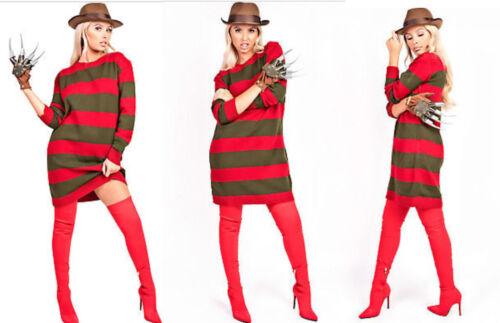 Womens Ladies Freddy Kruger Red//Green Stripe Jumper Dress Nightmare Size Uk 8-26