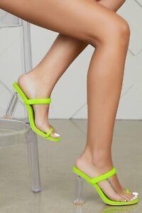 Neon Lime Green MACAROON Mule Clear