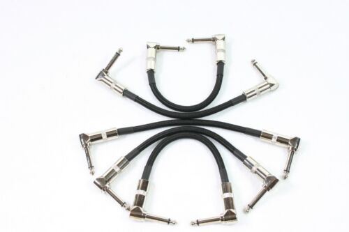 """5 Pack 6/"""" 1//4 Right-Angle Instrument GUITAR Cable CORD Effect Patch BLACK TWEED"""