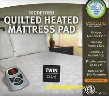 """Biddeford QUILTED HEATED MATTRESS PAD Twin Size (39"""" x 75"""")~GREAT REVIEWS~FAST"""