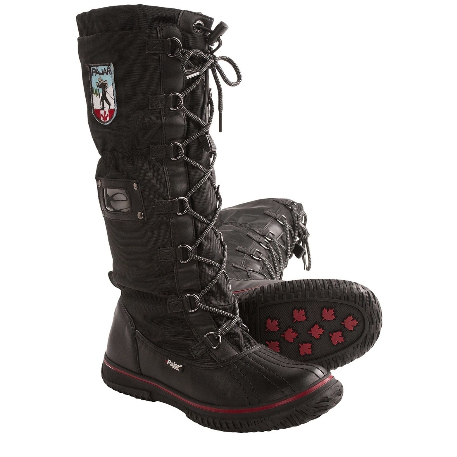 Pajar Canada Grip Boot Women's Black Red Winter Snow Sz US 8 8.5 NEW