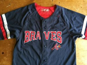 sports shoes 54aa0 eb7d6 Details about Atlanta Braves Youth Jersey Navy Blue w/Red Size M MLB  Genuine Merchandise B2