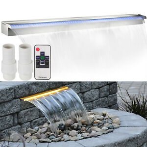 Color-Changing-120cm-Lighted-Spillway-LED-Stainless-SteelWall-Pond-Spillway