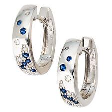 NEU Diamanten Saphir Creolen blau 585 Gold Ohrringe Weißgold 14 Karat 0,10 ct.