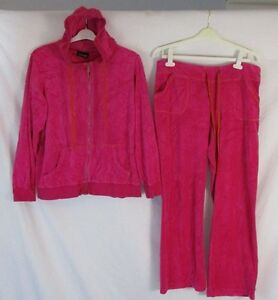 Details About Lane Bryant Womens 14 16 Pink Velour Two Piece Hooded Jacket Track Suit Aa309