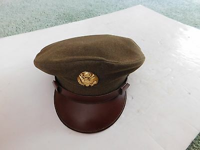 Vintage US Army Military Green Visor Cap, Unworn? Crusher Style?
