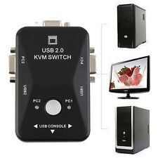 2 Port USB VGA KVM Switch Box For Mouse Keyboard Monitor Sharing Computer PC