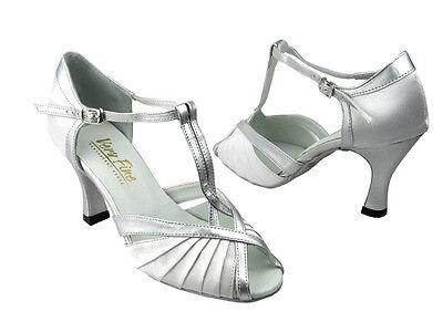 "2703 Silver Black Salsa Ballroom Latin Leather Dance Shoes 2.5/"" 3/""  Very fine"