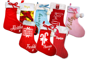 Details About Personalised Christmas Stockings Family Set Santa Sack Xmas Glitter Sequin