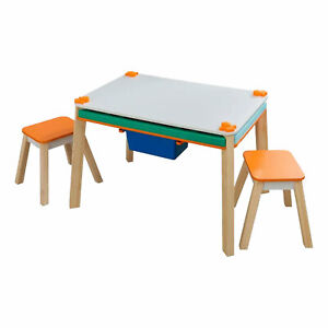 KidKraft Maker's Space Project Station Activity Craft Table w/ Storage & Stools