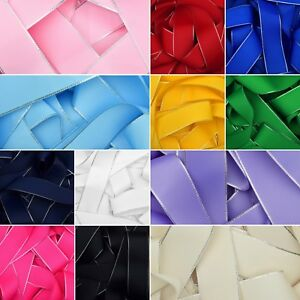 Silver-Edged-Grosgrain-Ribbon-in-12-Colours-6mm-10mm-25mm-38mm-Bow-Crafts-Hair