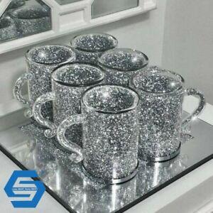 Crush Diamond Crystal Filled Mugs Set Of 6 Silver Kitchen Ware Tea Coffee Cups✨