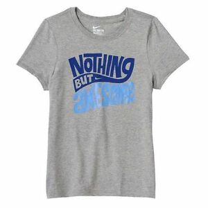 ecebe942098b Nike Girl Youth Kids Graphic T-Shirts Tee Nothing But Awesome Grey ...