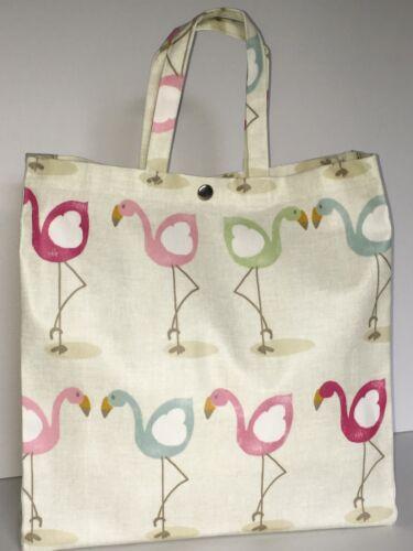 Nikki/'s Original Totes Handmade Cotton Oilcloth Bags Pretty Flamingo in Pastels