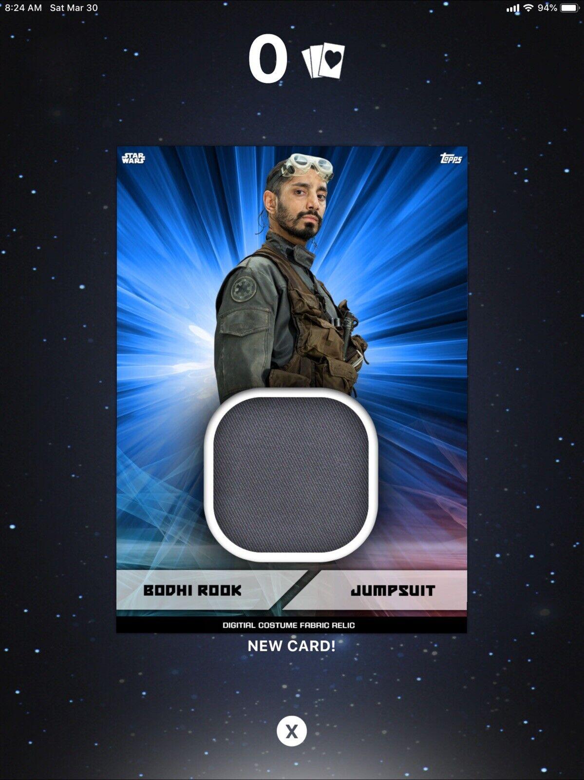 Topps Star Wars Card Trader Digital Swatch Relic Marathon Blue Director Krennic