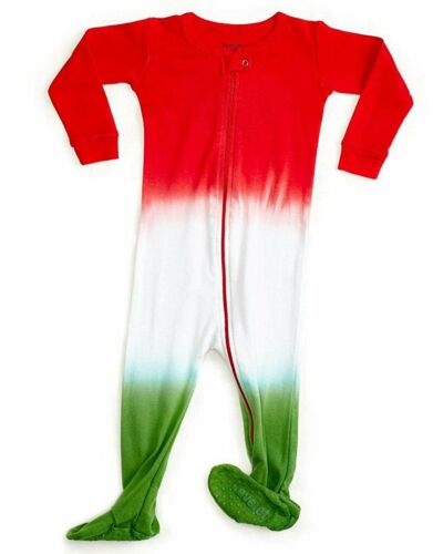 12M-5Y Details about  /Leveret Boys Girls Red White Green Footed Pajama 100/% Organic Cotton
