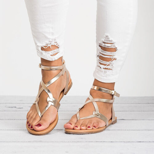 Women Summer Boho Front Cross Lace Up Flats Espadrilles Sandal Tassel Flip Flops