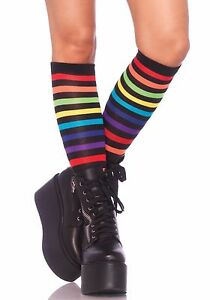 cb30b96a627fa LA-5601 Sexy Neon Rainbow Striped Knee High Stockings Women's Gogo ...