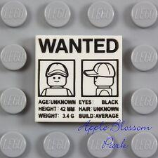 NEW Lego Police Agents 2x2 PRINTED TILE White w//Criminal Fingerprint Card Ticket