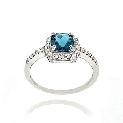 925 Silver London Blue Topaz & Diamond Accent Square Ring Size 5