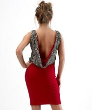VICKY MARTIN sexy red gold BACKLESS cowl sequin fitted mini dress BNWT 10 club