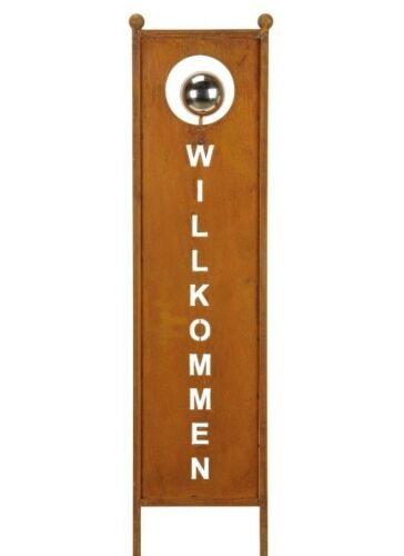 Edelrost Tafel Willkommen zum Stecken 116cm Edelstahlkugel Stele Gartendeko
