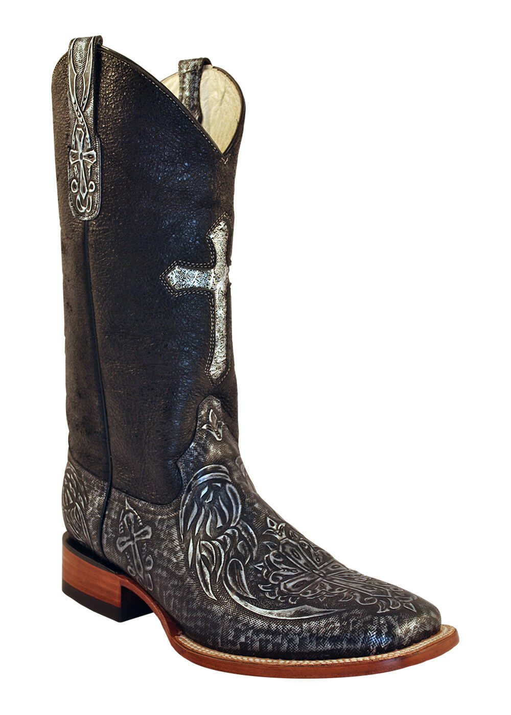 New Ferrini Women Leather Cowboy Western Western Western Embossed Cross Boot Black Sq Toe 10 34e86f