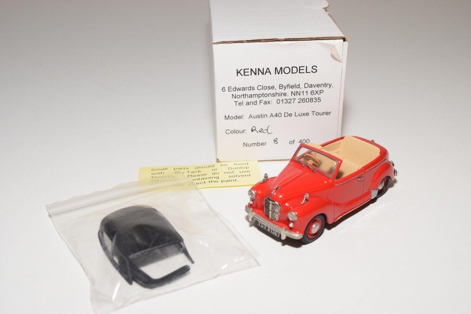 KENNA MODELS AUSTIN A40 DE LUXE TOURER RED MINT BOXED 8 400 RARE