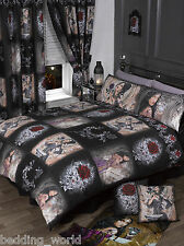 SUPER KING SIZE STORY OF THE ROSE DUVET COVER SET ALCHEMY GOTHIC MASK BLACK RED