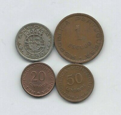 Coins: World Lovely Angola Portuguese 1956-1963 Four Circulated Very Fine Colonial Coins Easy And Simple To Handle Angola