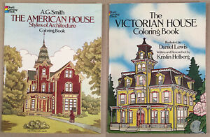 1980-1983-Dover-VICTORIAN-HOUSE-AMERICAN-HOUSE-COLORING-BOOKS-Unused-Conditions