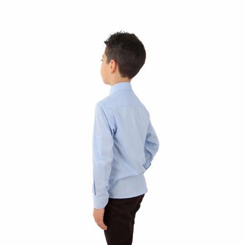 Boys Linen Sky Blue Shirts Kids Summer Shirts Roll Up Long Sleeve Boy Shirt