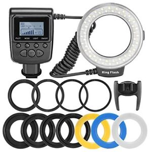 Macro-LED-Ring-Flash-Light-Includes-4-Diffusers-lear-Warming-Blue-White
