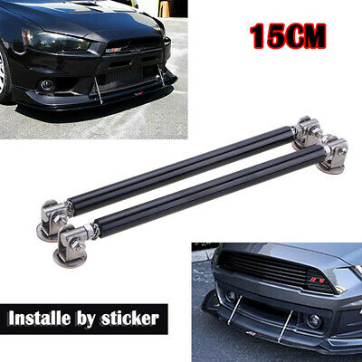 FIT FORD 2PC 150MM METAL FRONT//REAR SPLITTER BUMPER LIPS SUPPORT STRUTS BARS RED