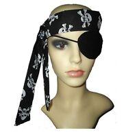 Pirate fancy dress, black eyepatch & skull & crossbone head scarf, eye patch