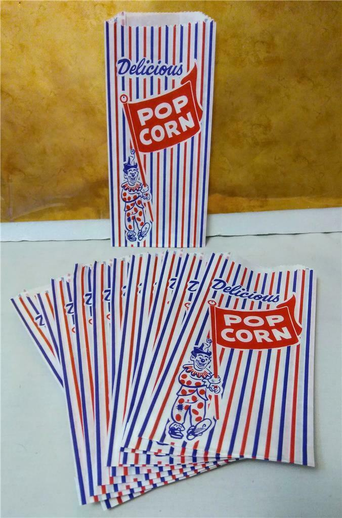 Paper 6 x .75 x 9 Red and Blue Clown Design **Closeout Price** Popcorn Bags