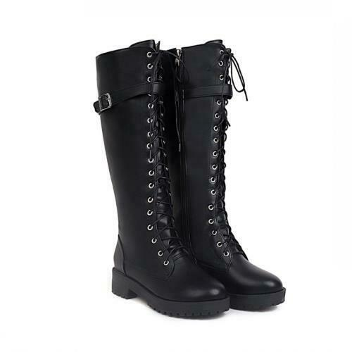 Details about  /Women/'s Buckle Low Heel Comfort Casual Knee High Riding Boots 40//41//42//43 Punk D