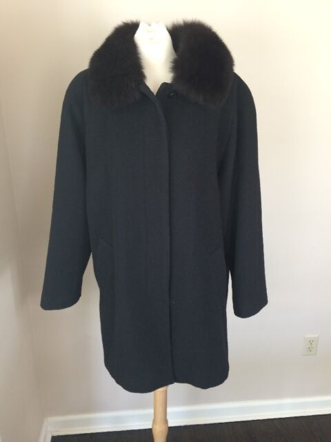 Black Wool Coat Jacket By Forecaster W/ Fox Fur Collar Sz 12 Made In Finland