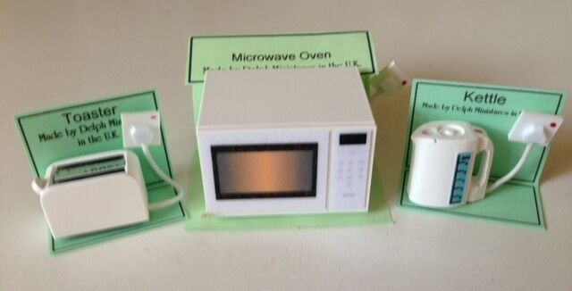 Dolls House Miniature 1/12th Scale Kitchen Set of 3,  Microwave, Toaster, Kettle