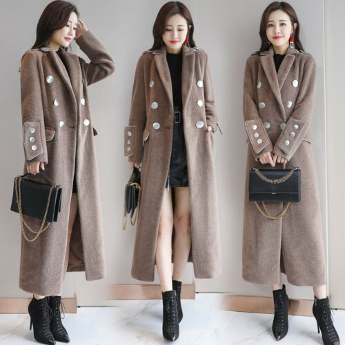 Loose Parka Coat Korean Blend Lang Double Kvindeuld Warm Breasted Jacket Lapel xwYSPPqzI